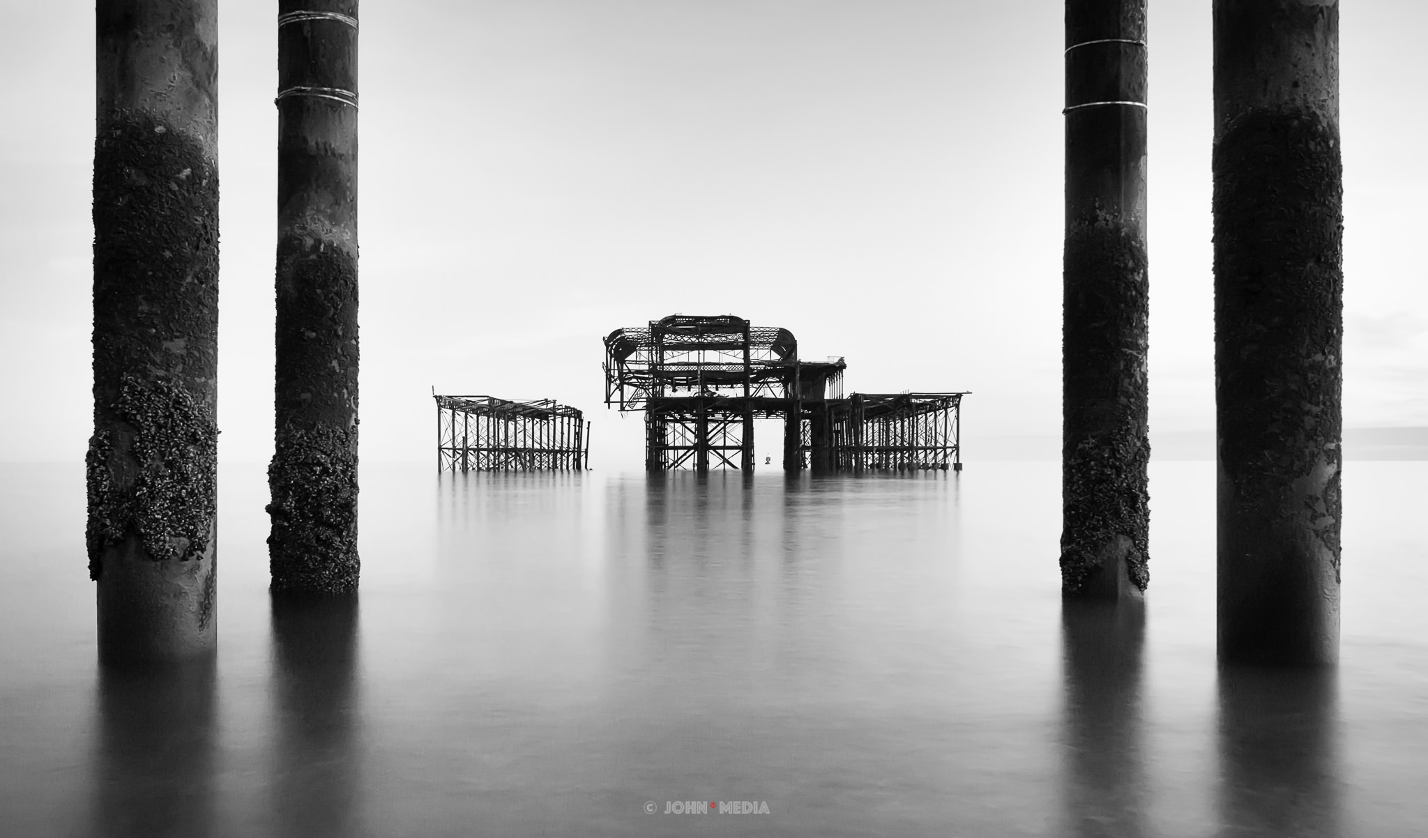 Brighton West Pier black and white
