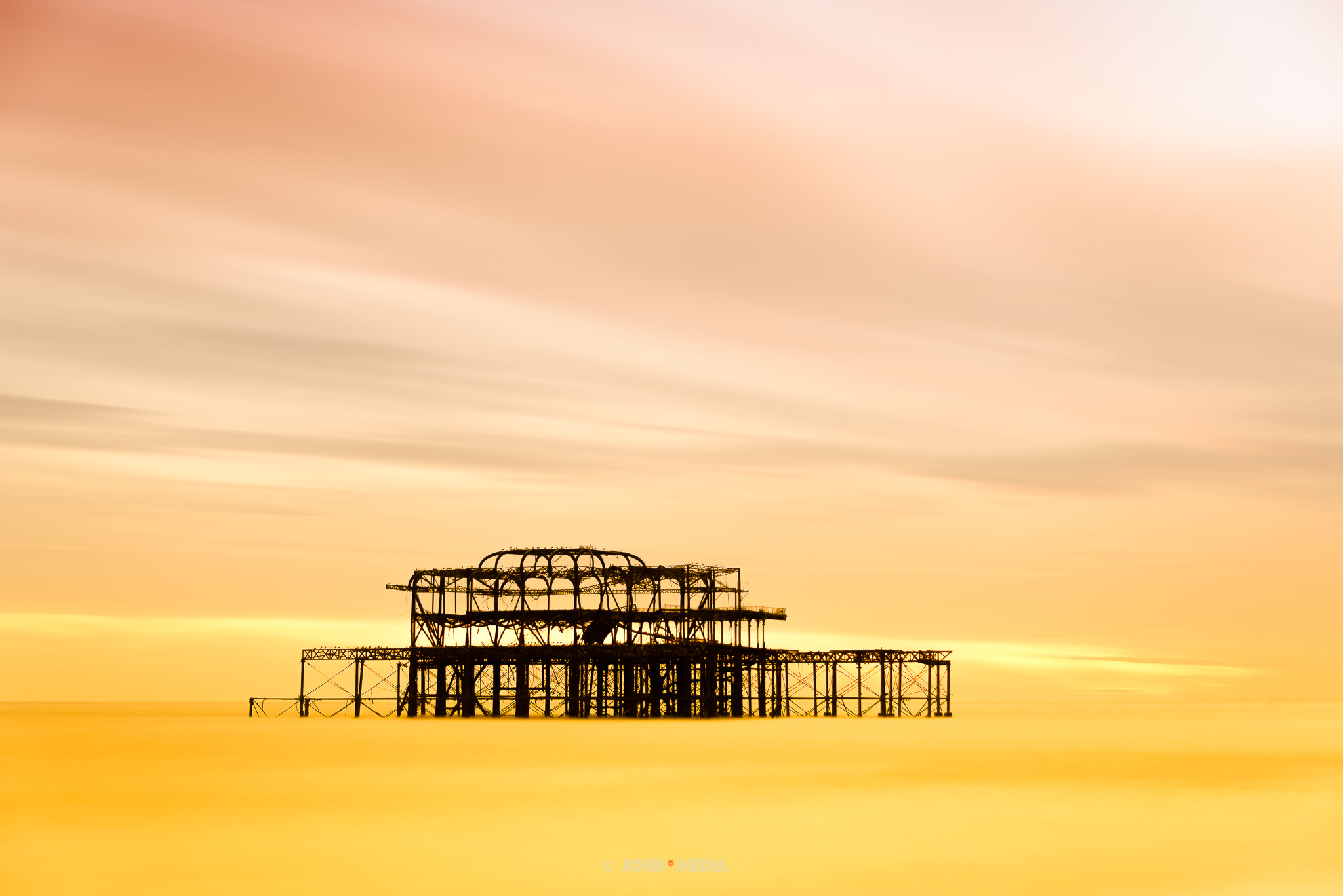 Brighton West Pier golden sunset