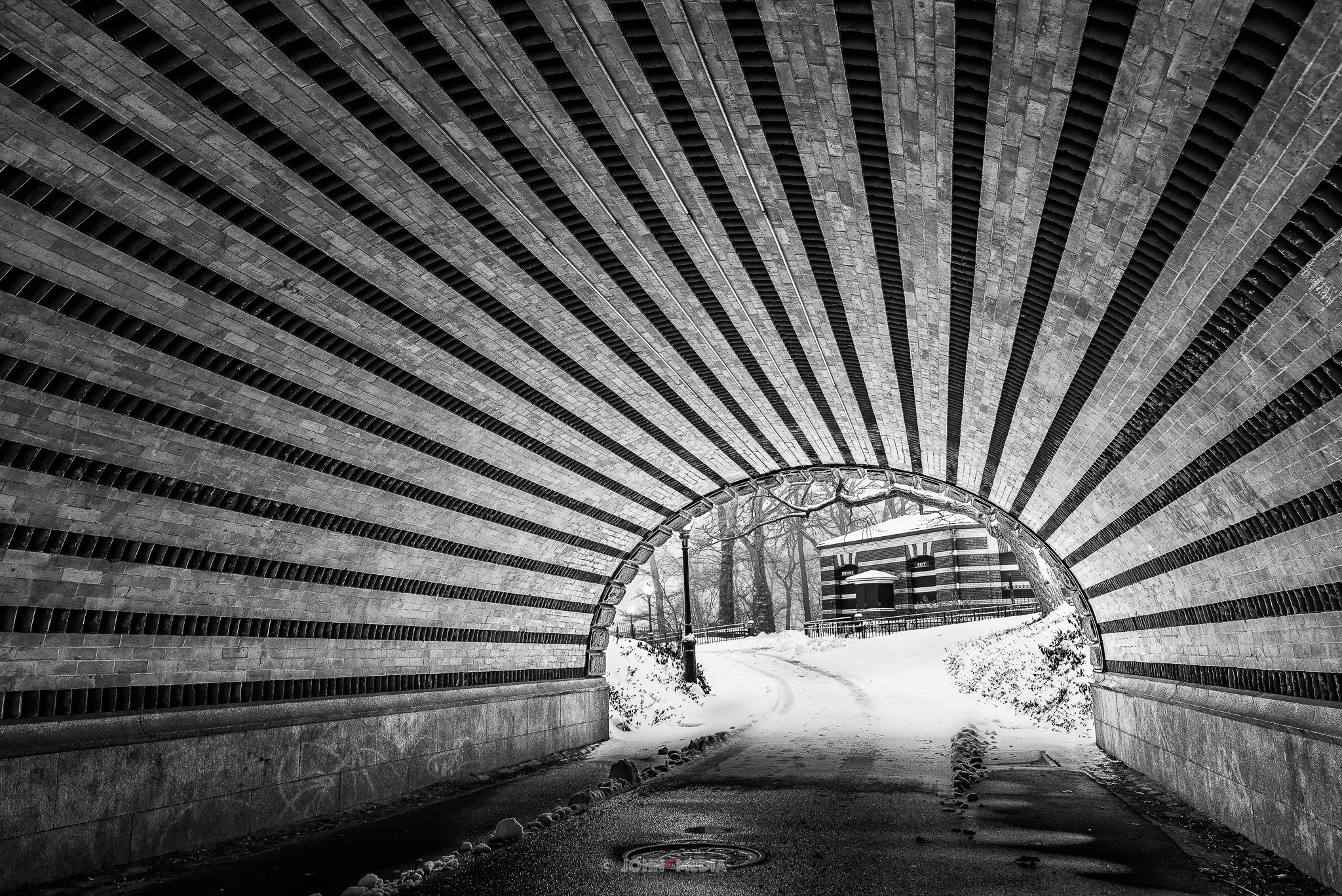 Central Park under the bridge in the January snow