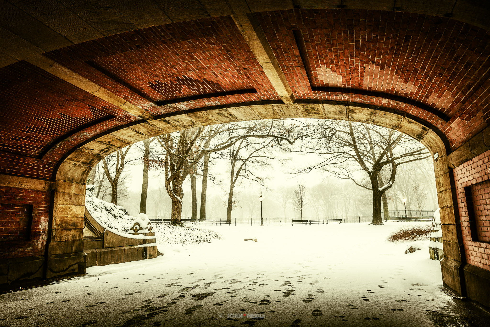 Central Park snow under the bridge