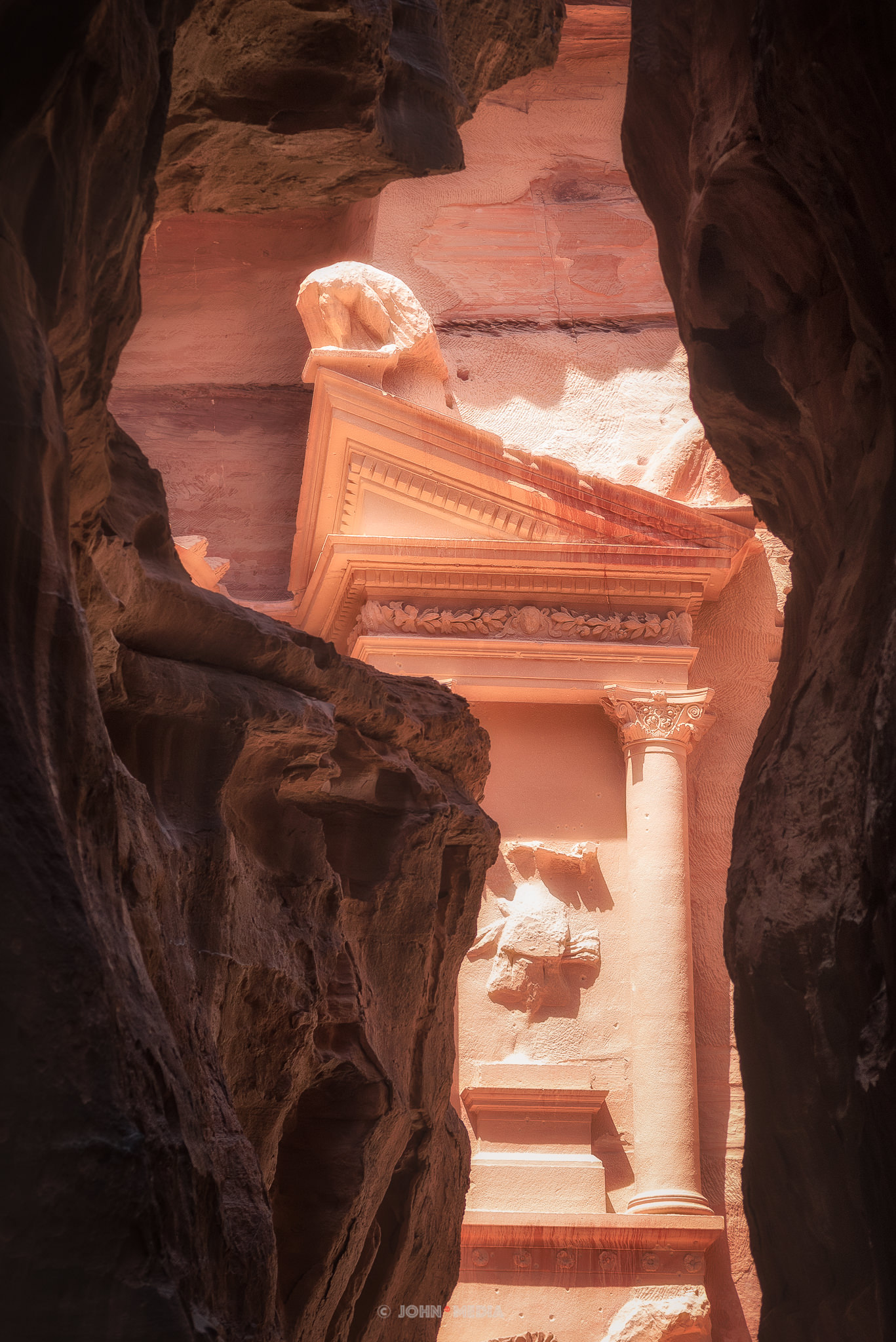 Petra Treasury bathed in sunlight