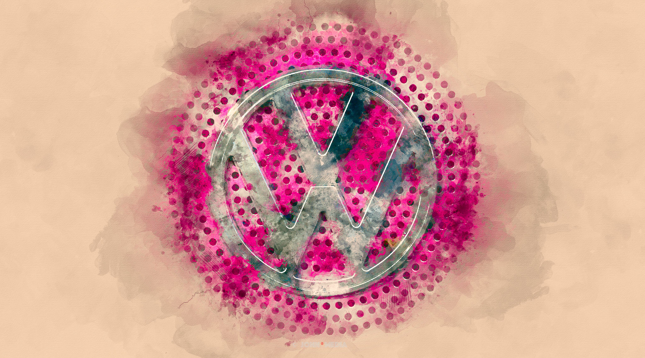 VW Volkswagen Logo Watercolour