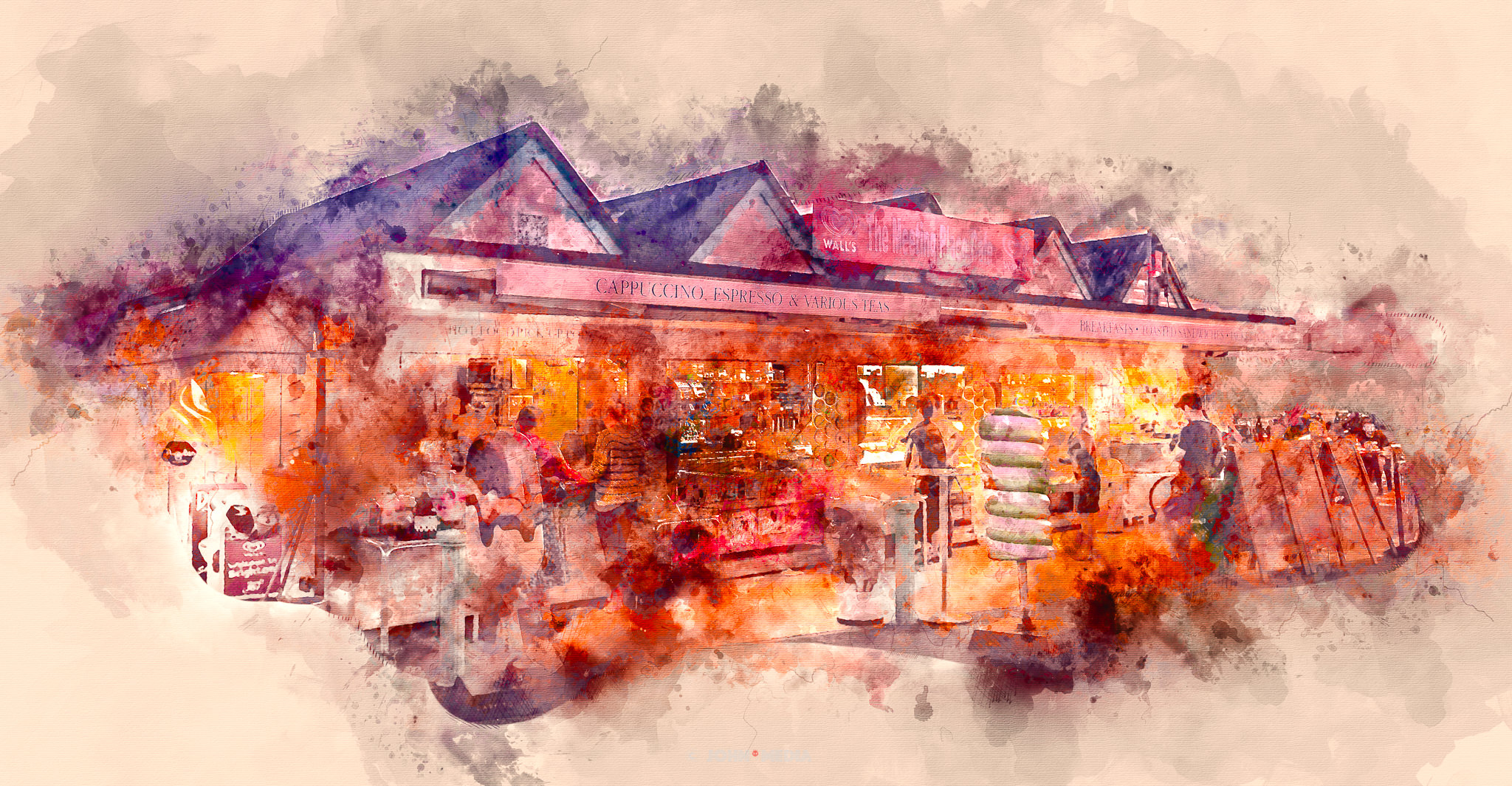 Meeting house cafe - Watercolour