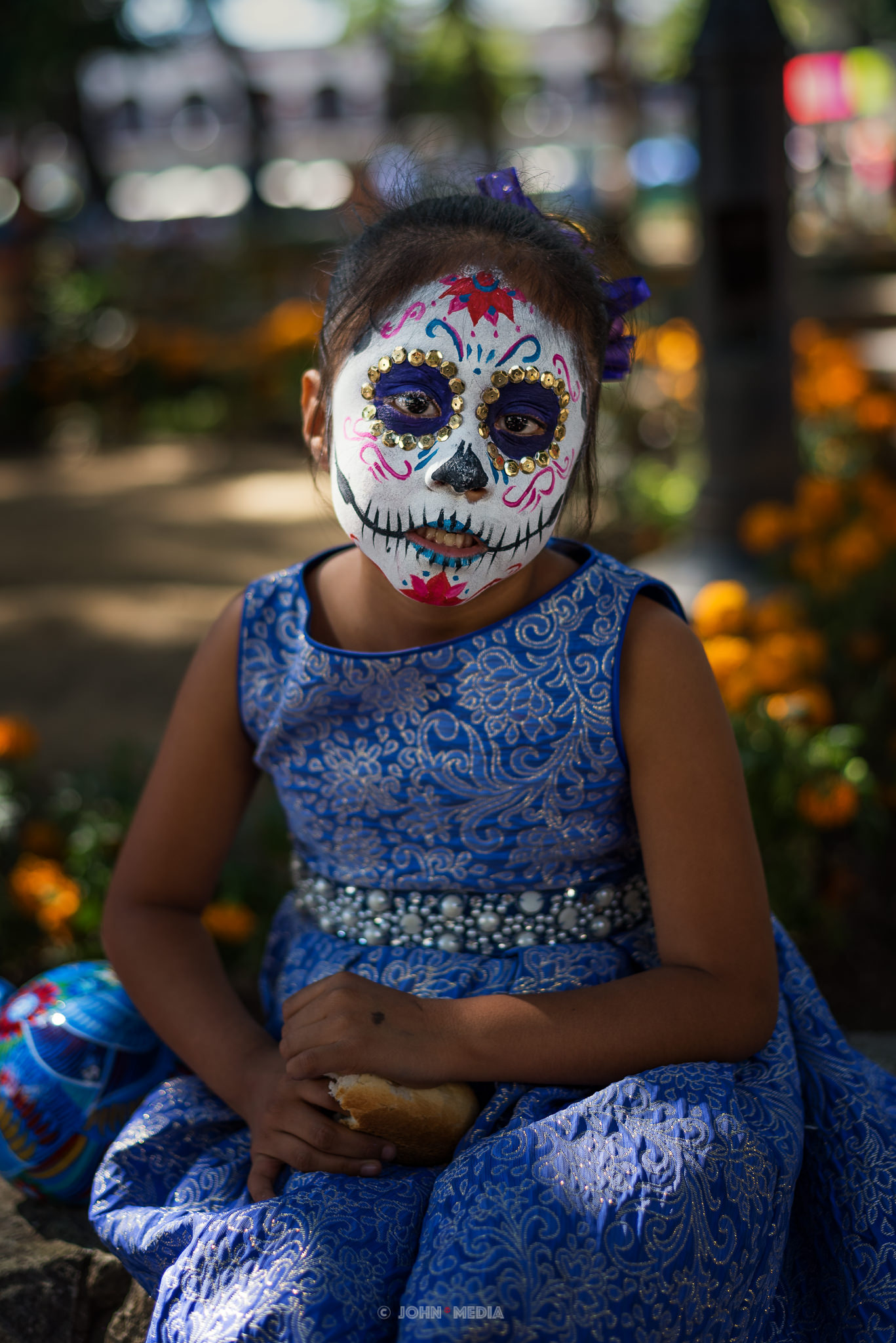 Oaxaca Dia de Muertos Blue Eyes Blue Dress
