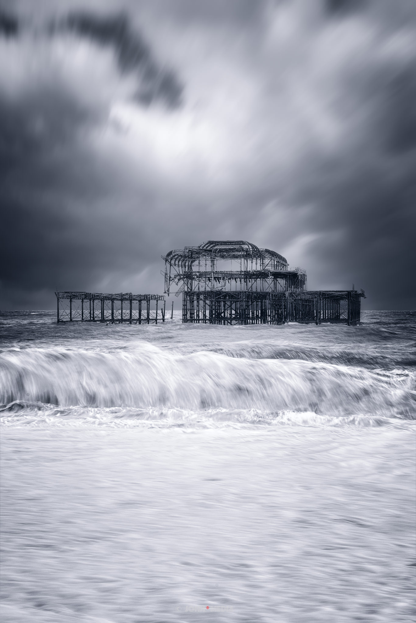 West pier in the storm