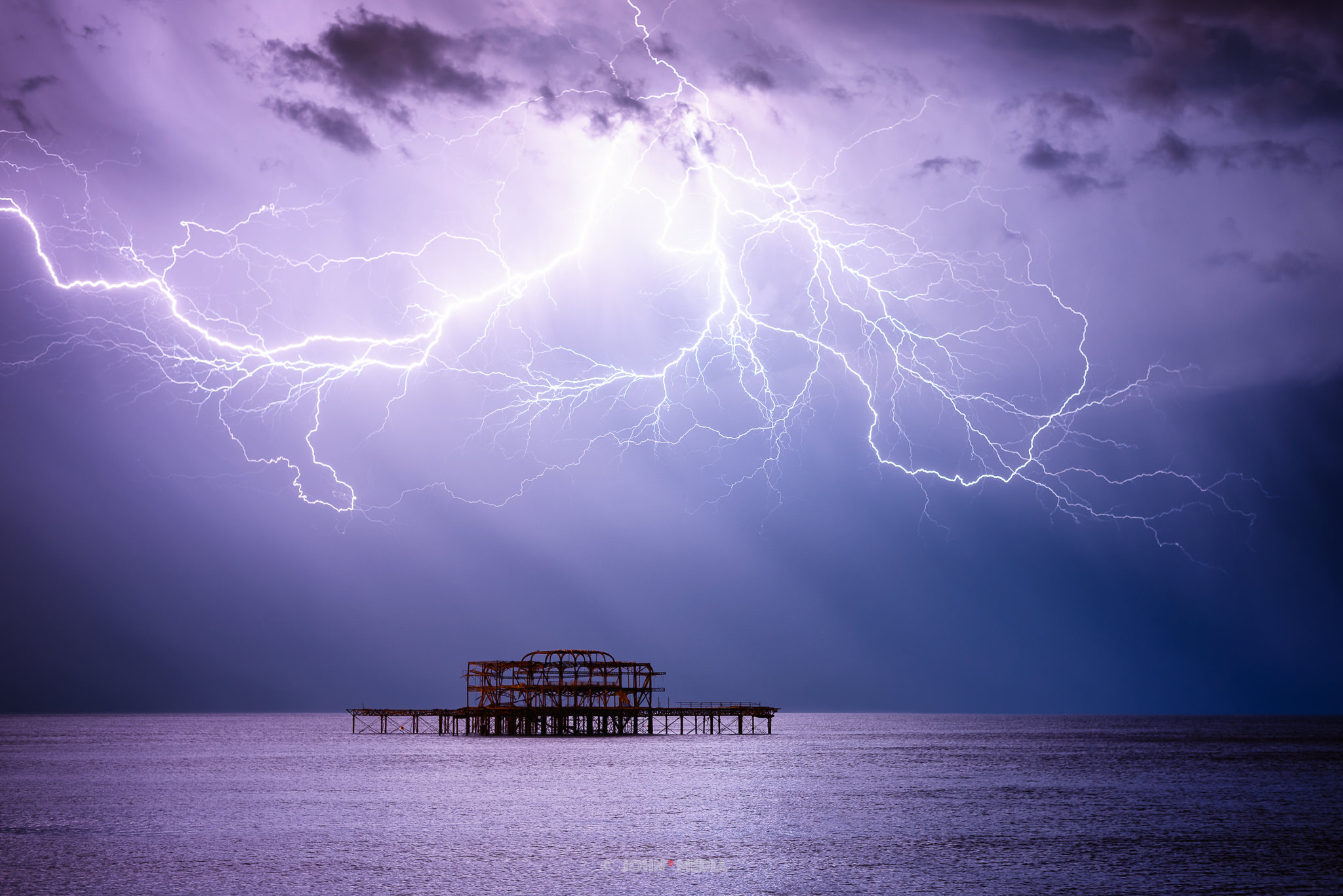 Lightning above Brighton West Pier - the Kraken